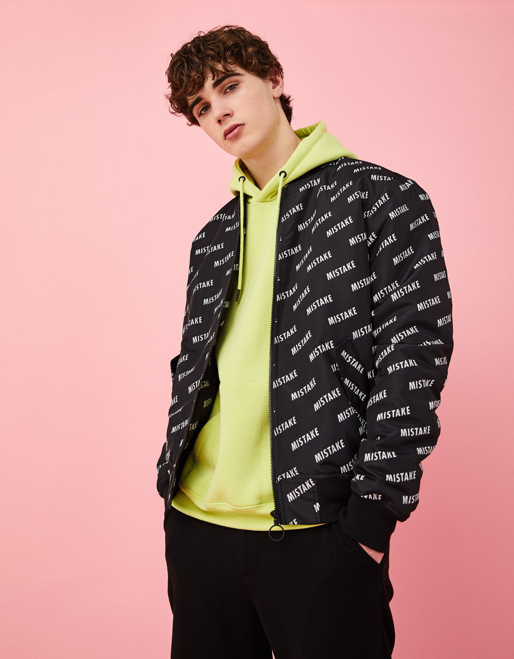 Bomber jacket with text