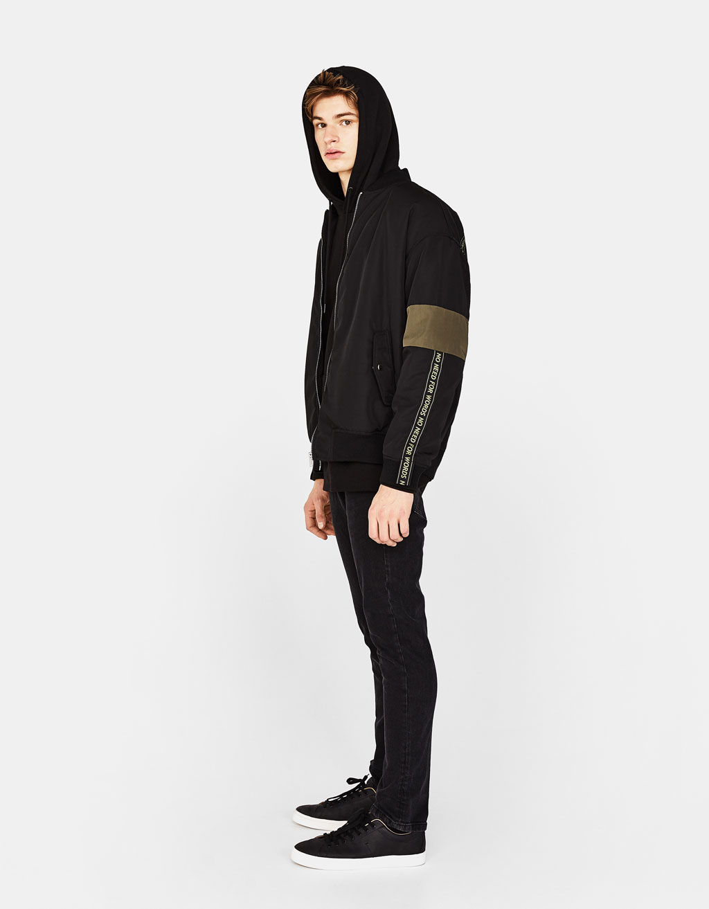 Bomber jacket with decorative bands