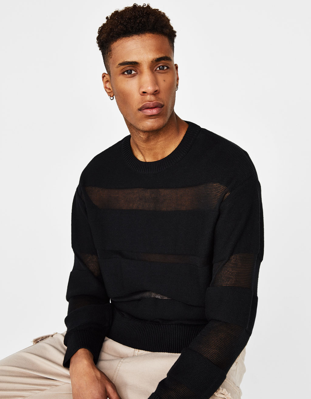 Sweater with open knit stripes