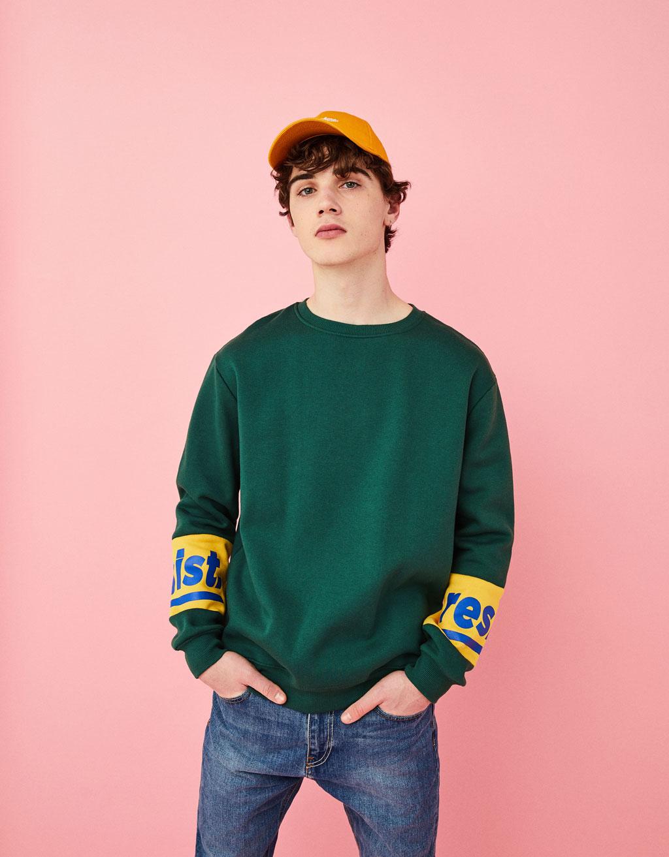 Sweatshirt with print on sleeves