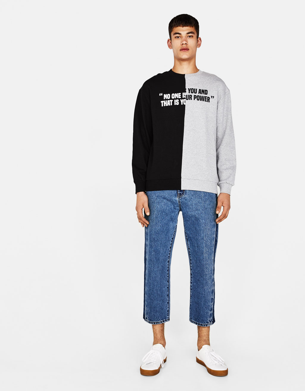 Contrasting sweatshirt with slogan