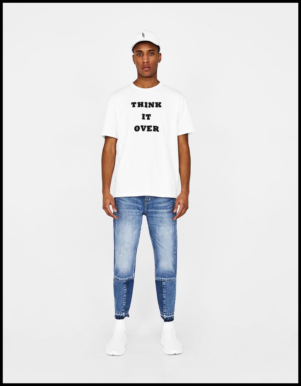 Camiseta con texto relieve