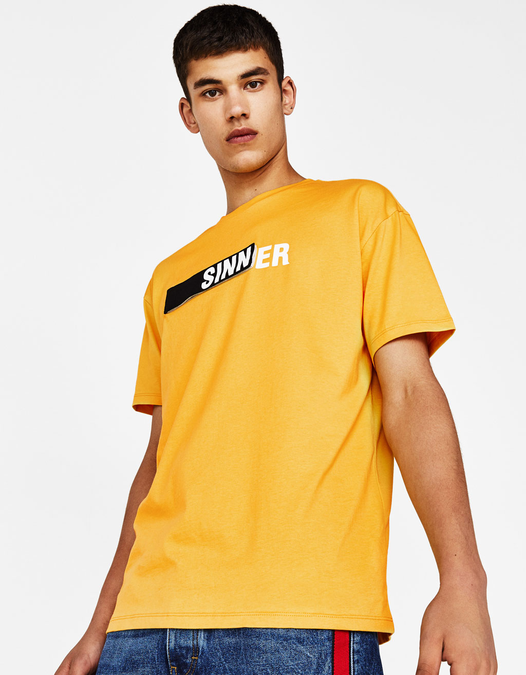 T-shirt with slogan strip