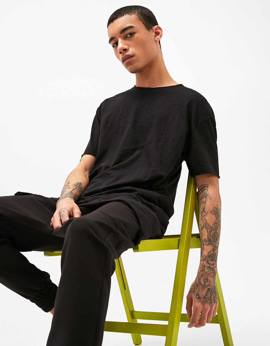 Asymmetric seamed T-shirt
