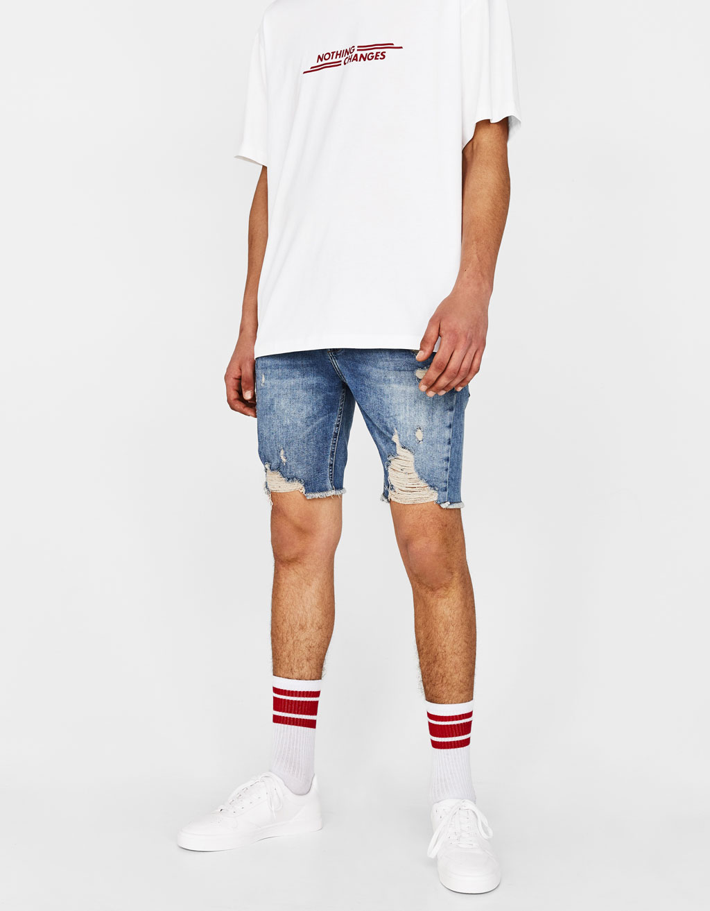 Skinny Comfort denim Bermuda shorts with rips