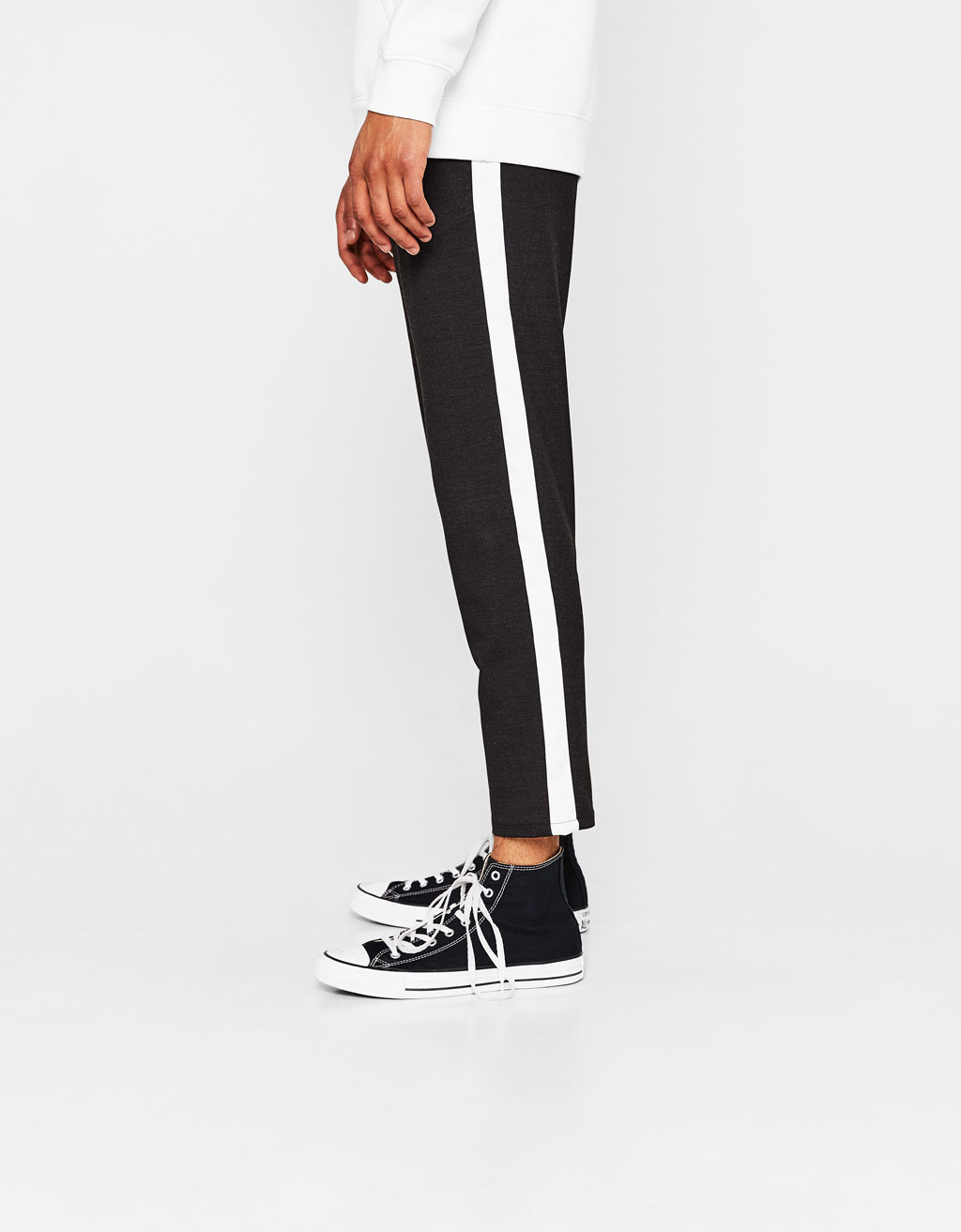 Slim fit cropped trousers with side bands