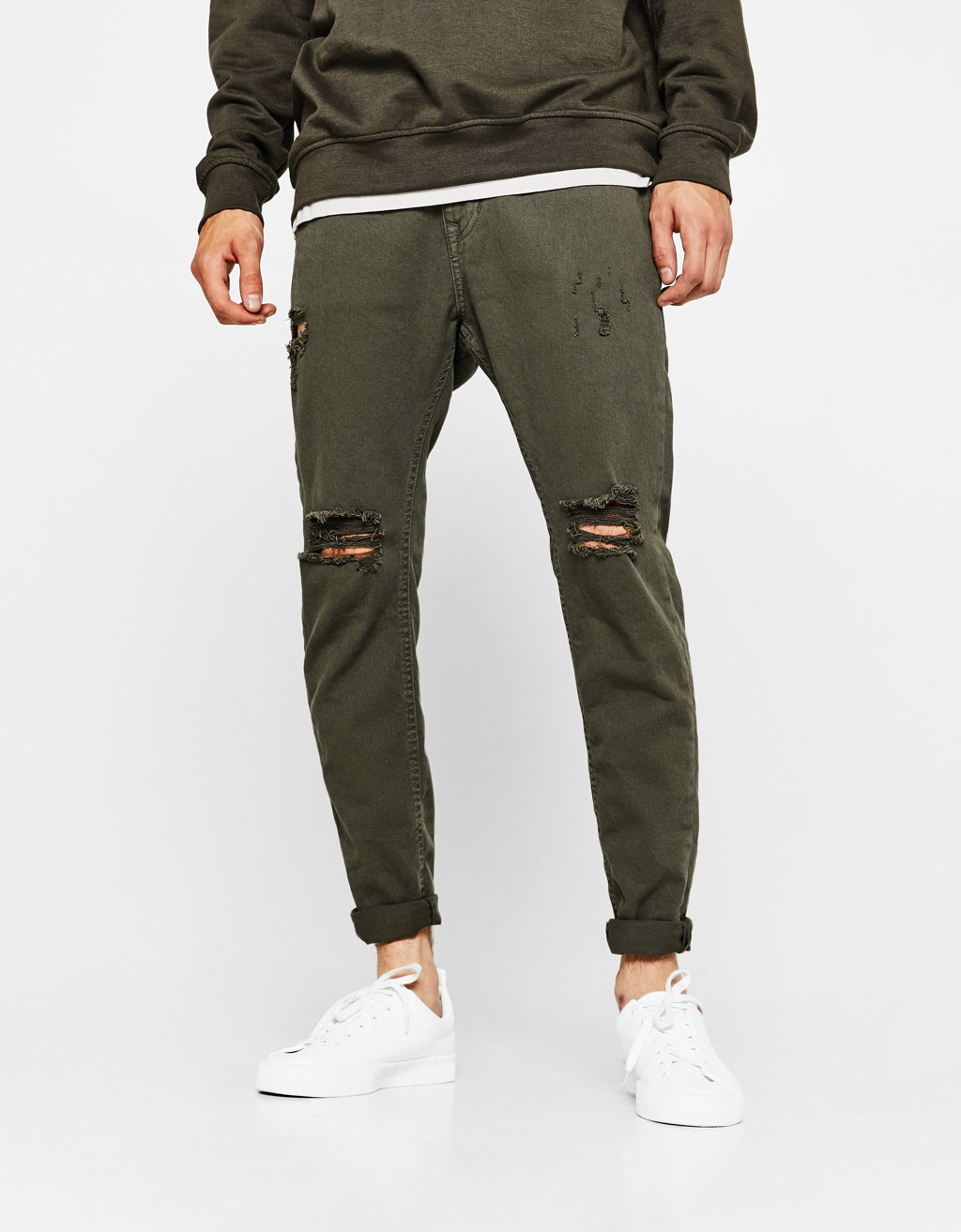 Ripped skinny fit trousers