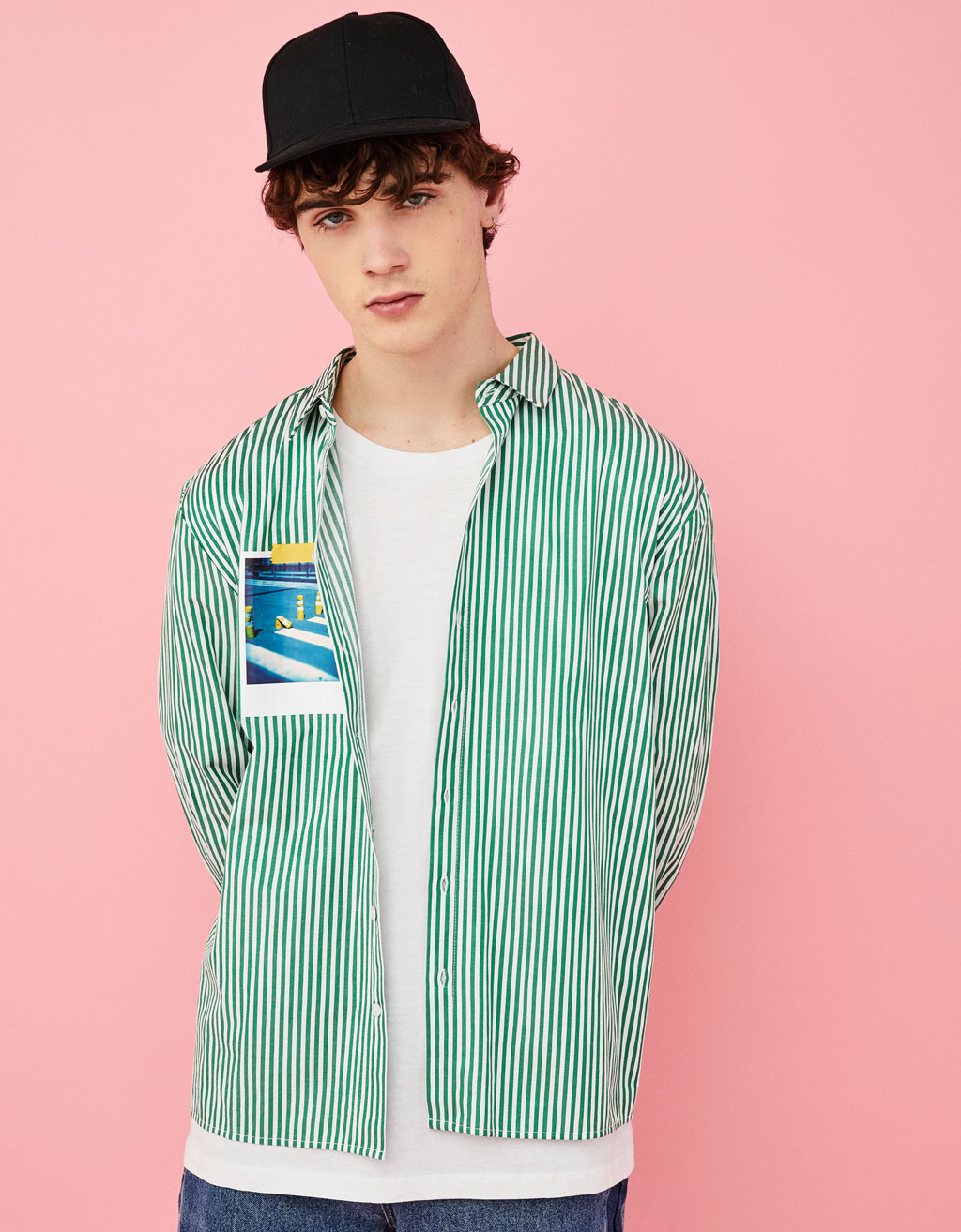 Striped Shirt with Chest Print