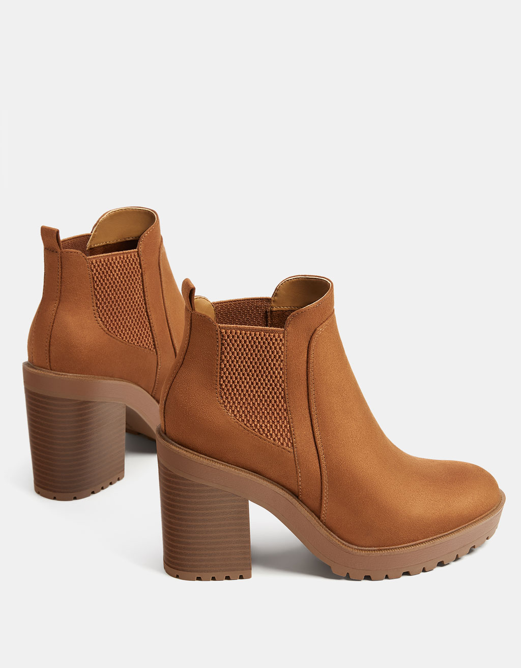 Stretch platform ankle boots with high heels