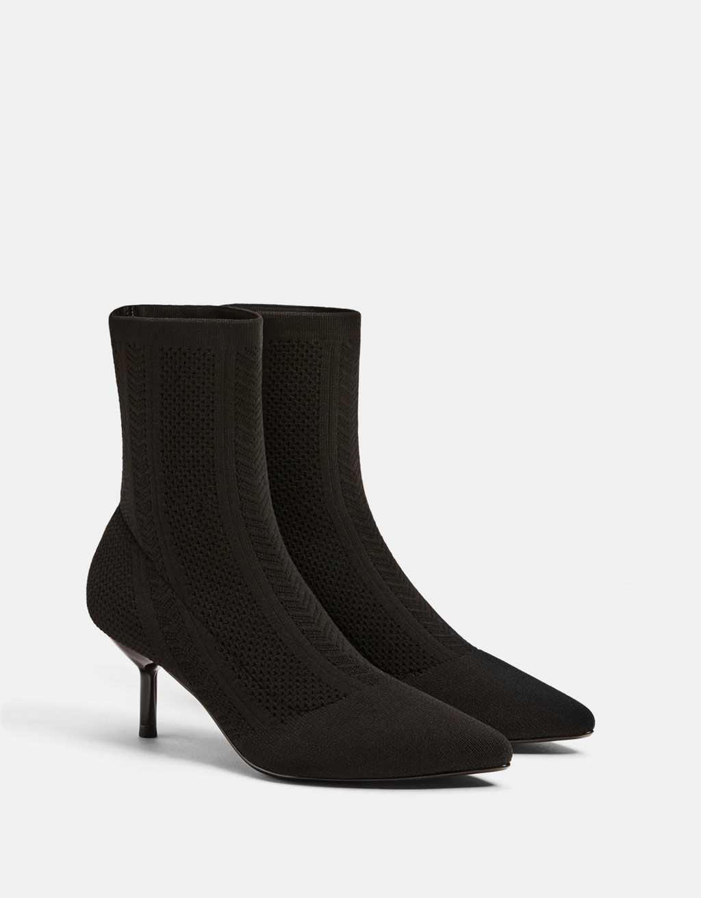 Mid-heel sock-style ankle boots
