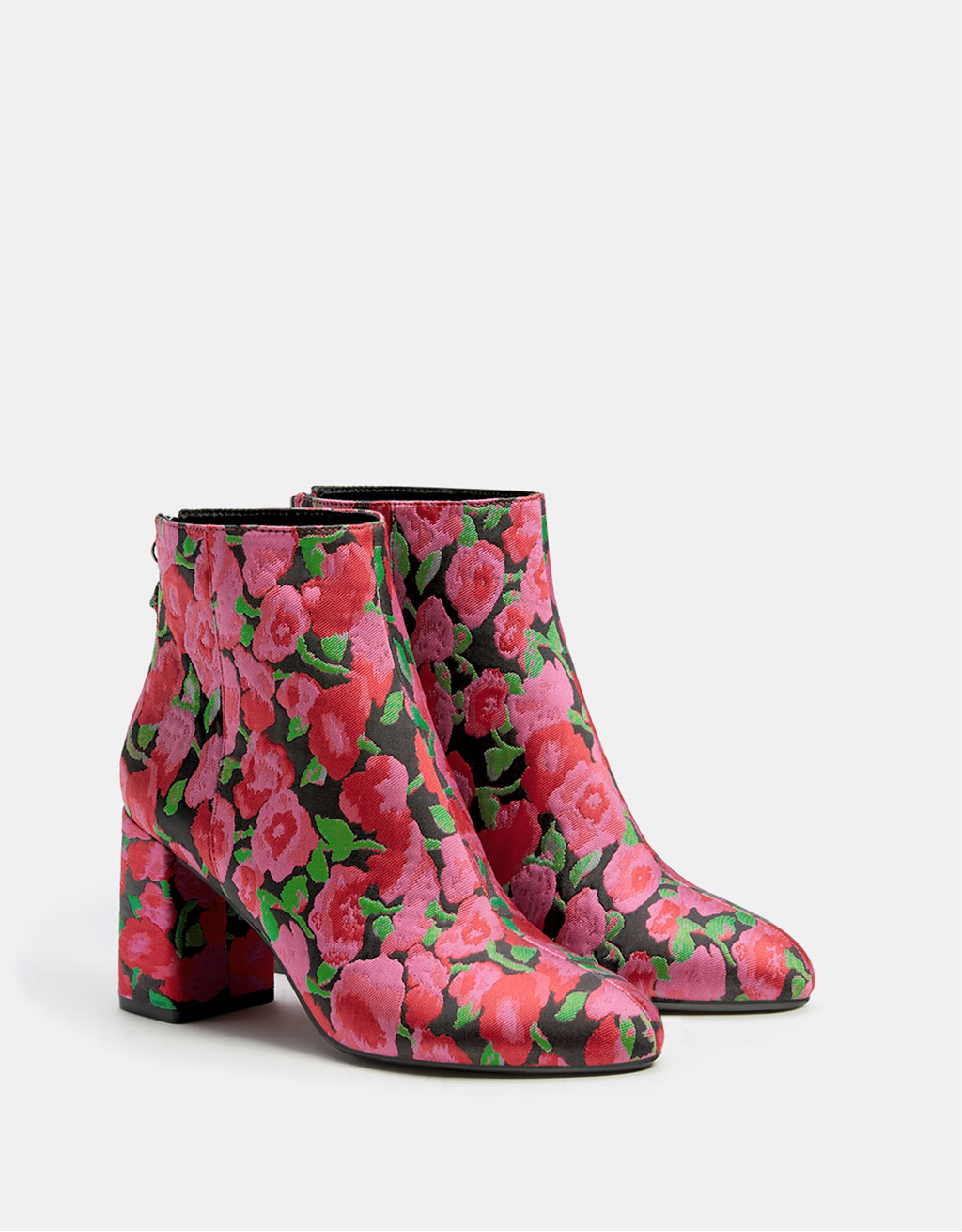 Printed ankle boots with high heels