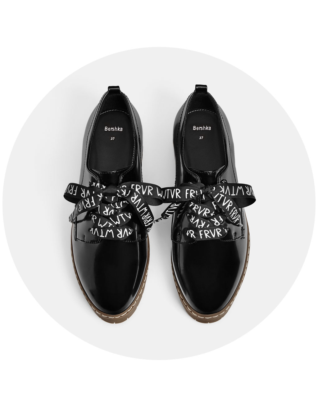 Faux patent leather platform derby shoes with slogan print laces