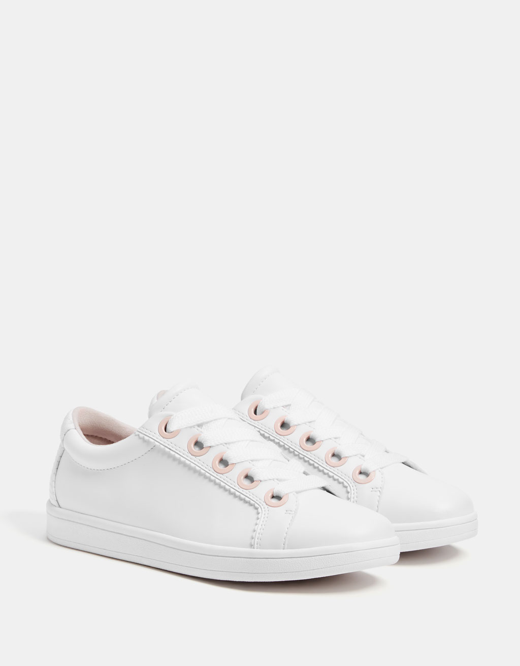 Scalloped edge white sneakers