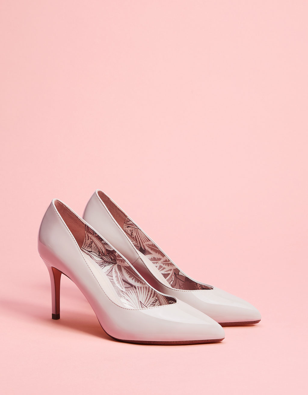 Faux patent leather stiletto heels