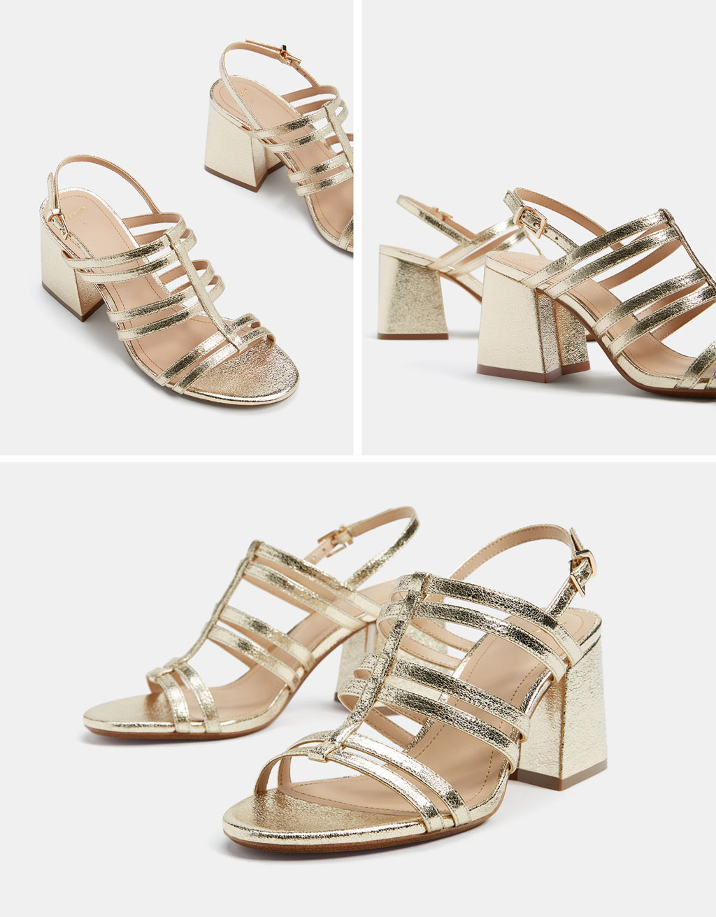 Metallic heel sandals