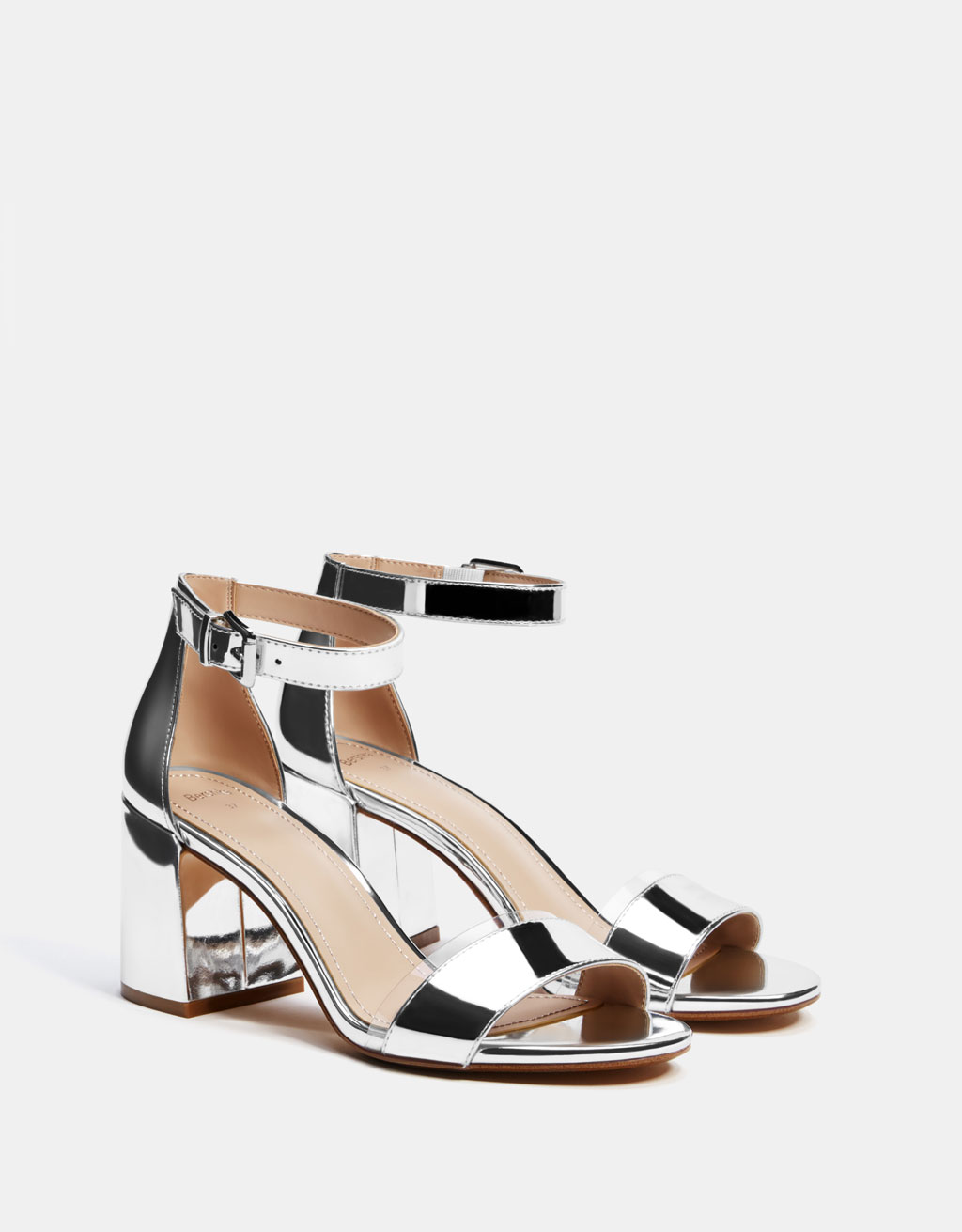 Metallicl high-heel sandals with vinyl detail