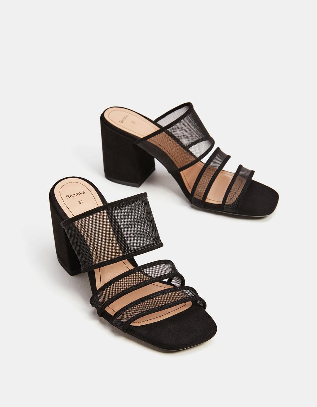 High heel mesh sandals