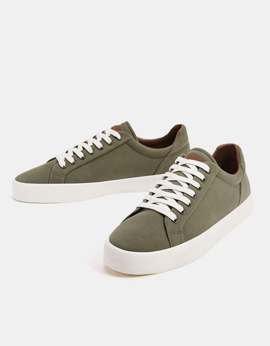 Men's khaki lace-up sneakers