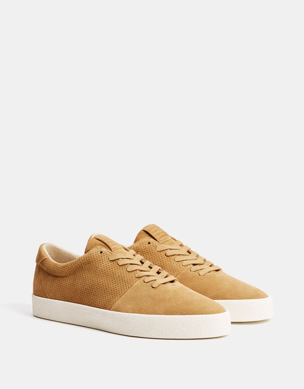 Men's leather sneakers with broguing