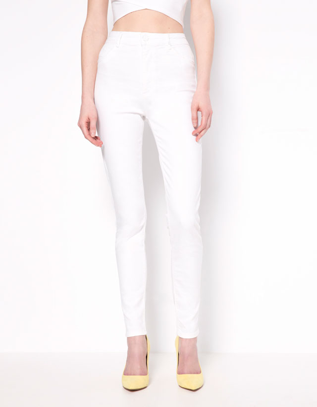 Jeans Super Skinny Tiro Alto Bershka Mujer Bershka