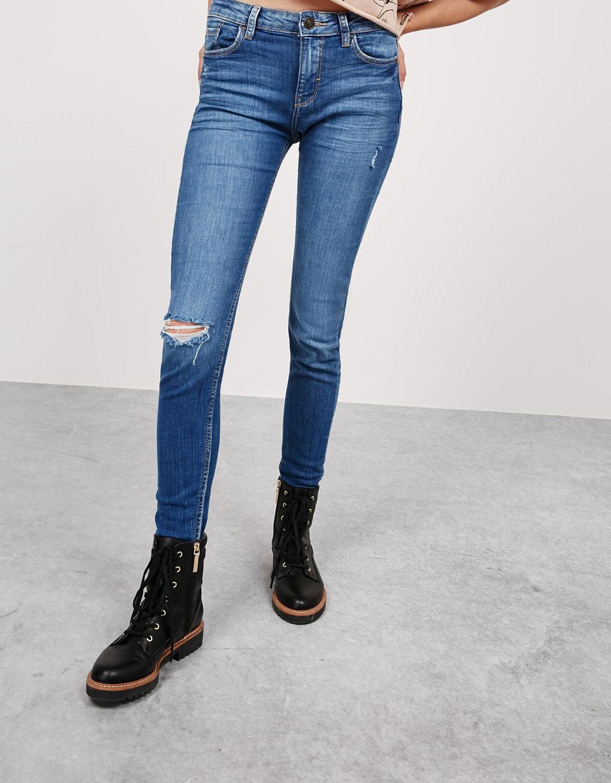 regular waist skinny fit jeans with frayed hem. Black Bedroom Furniture Sets. Home Design Ideas