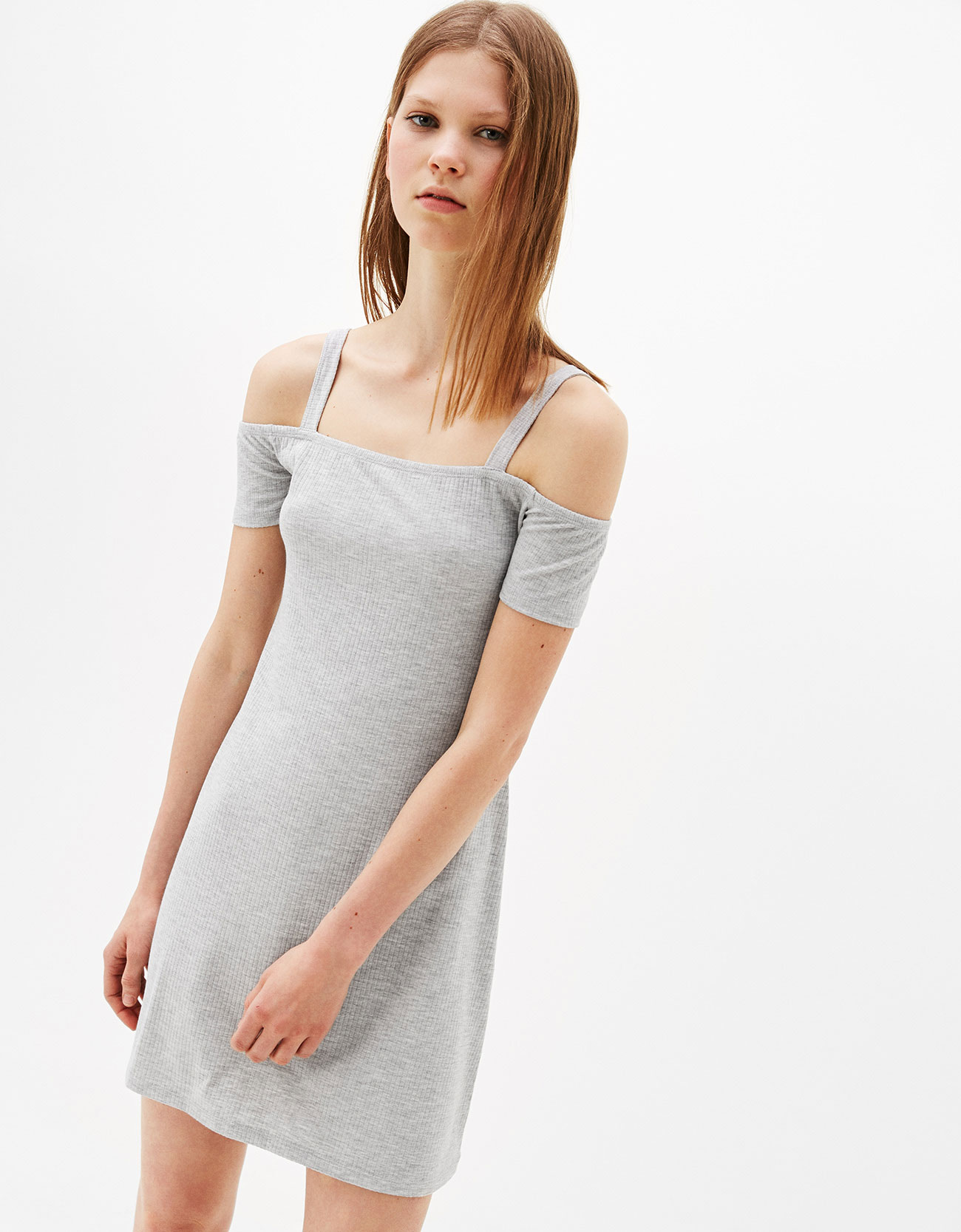 Strappy off-the-shoulder dress - Dresses - Bershka Indonesia