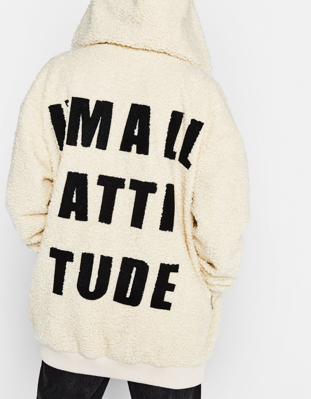 Manteau sherpa avec inscription
