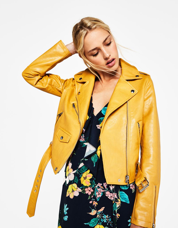 Blouson simili cuir femme jaune