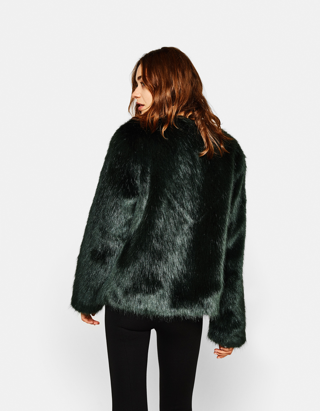 Short faux fur coat - Coats - Bershka Tunisia