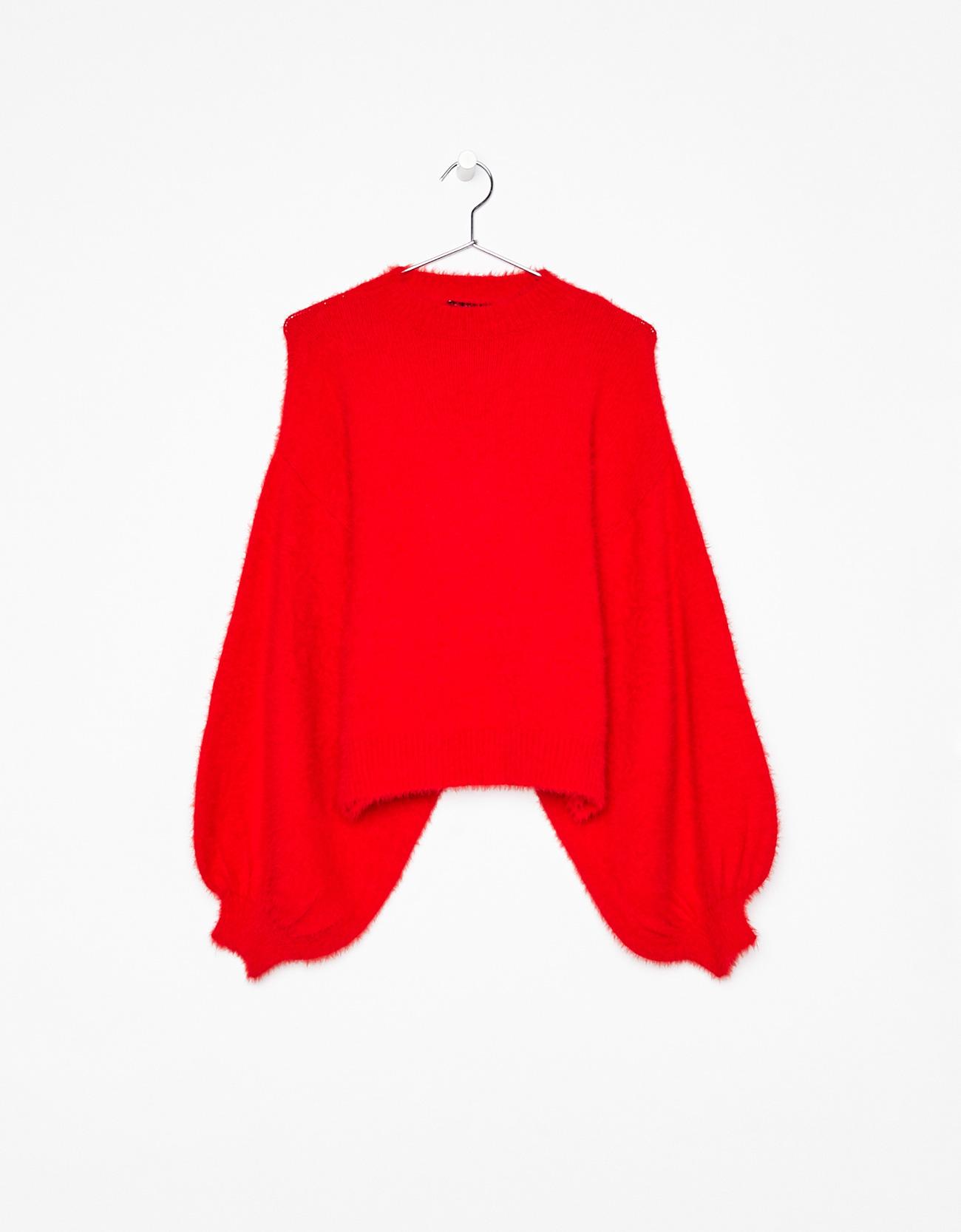 Fluffy sweater with puffy sleeves - New - Bershka Azerbaijan