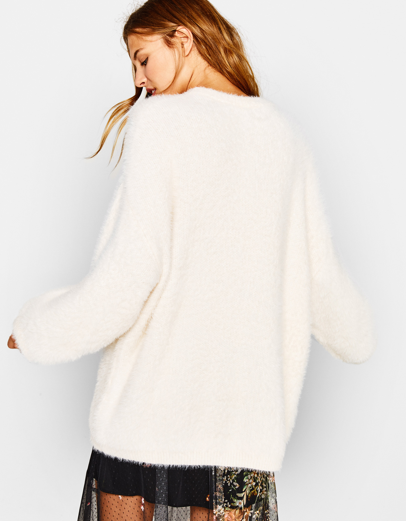 Oversized fuzzy sweater - New - Bershka United Kingdom