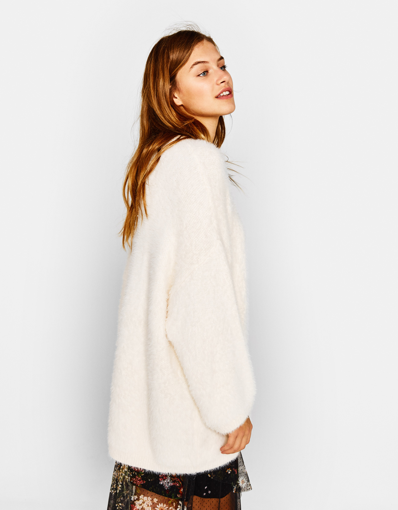 Oversized fuzzy sweater - null - Bershka United States
