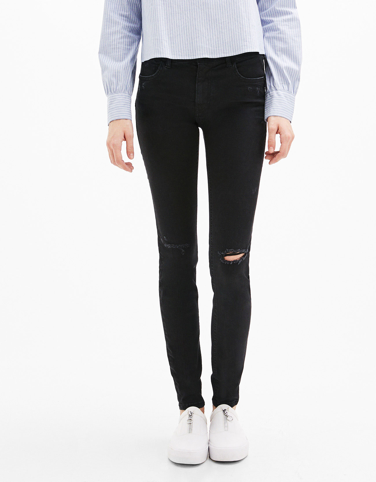 Ripped Push-up Jeans - Skinny - Bershka Japan