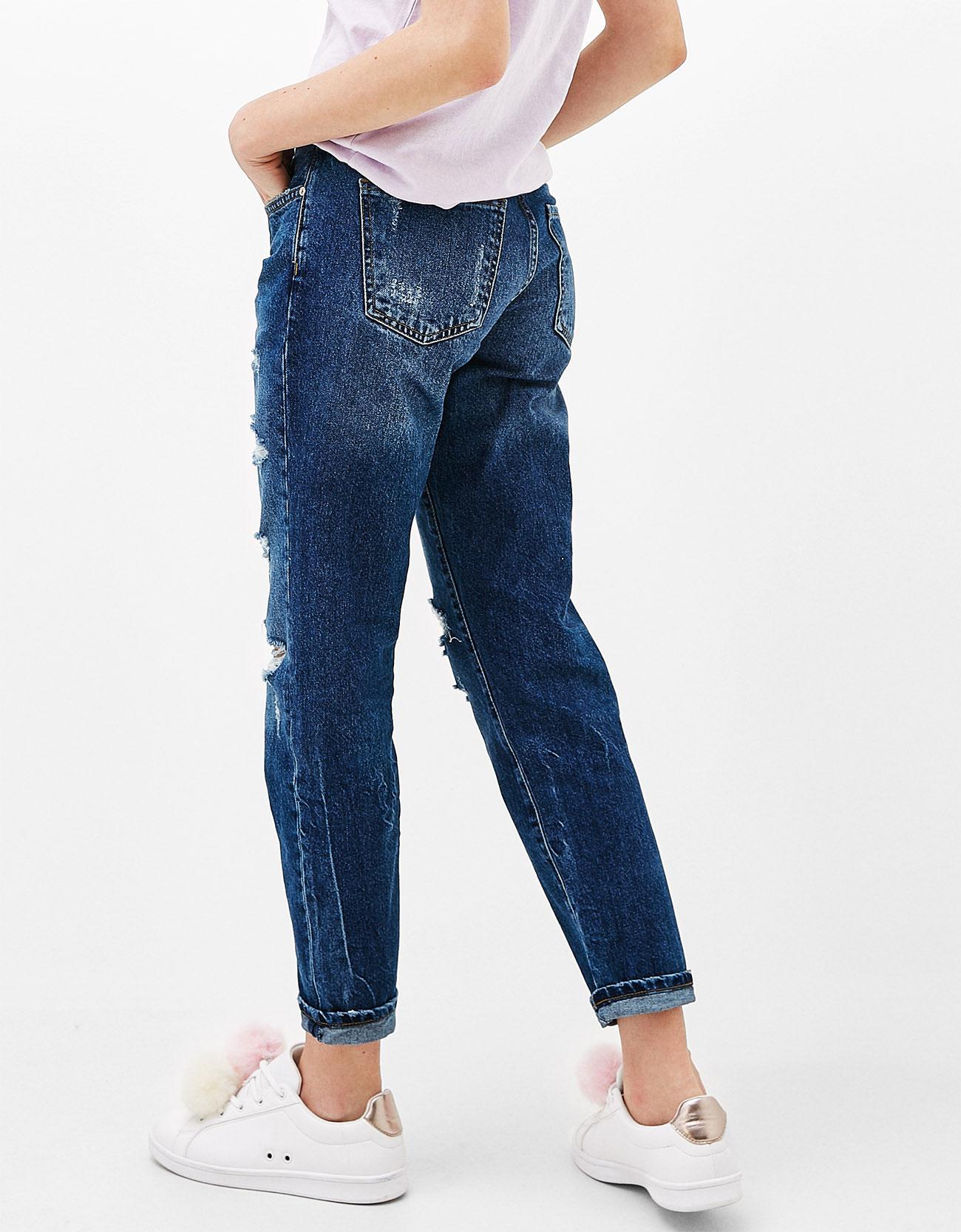 Slim Boyfriend jeans with rips - Jeans - Bershka Malaysia