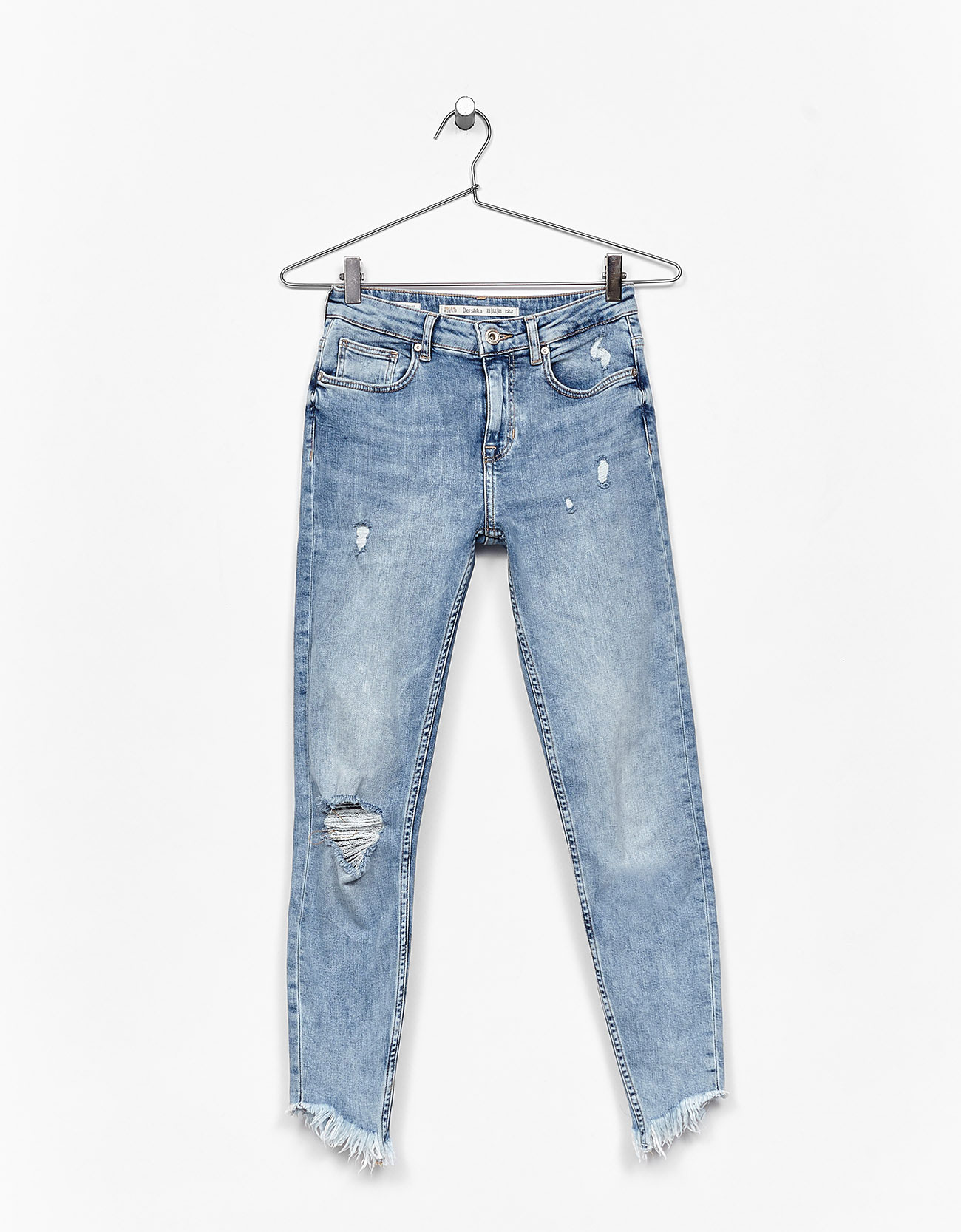 Ripped jeans with frayed hem - Jeans - Bershka Philippines