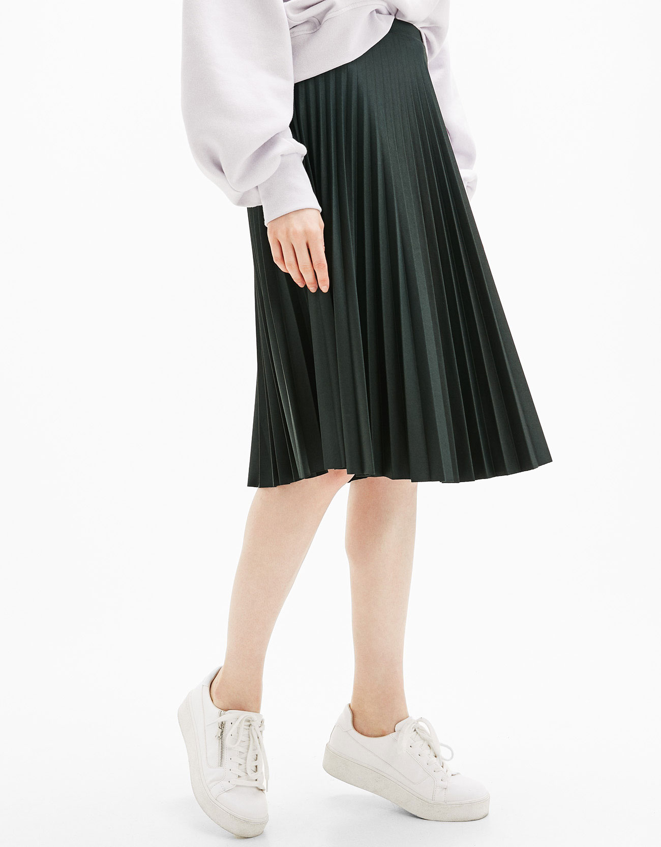 A-line pleated skirt - Skirts - Bershka Ireland