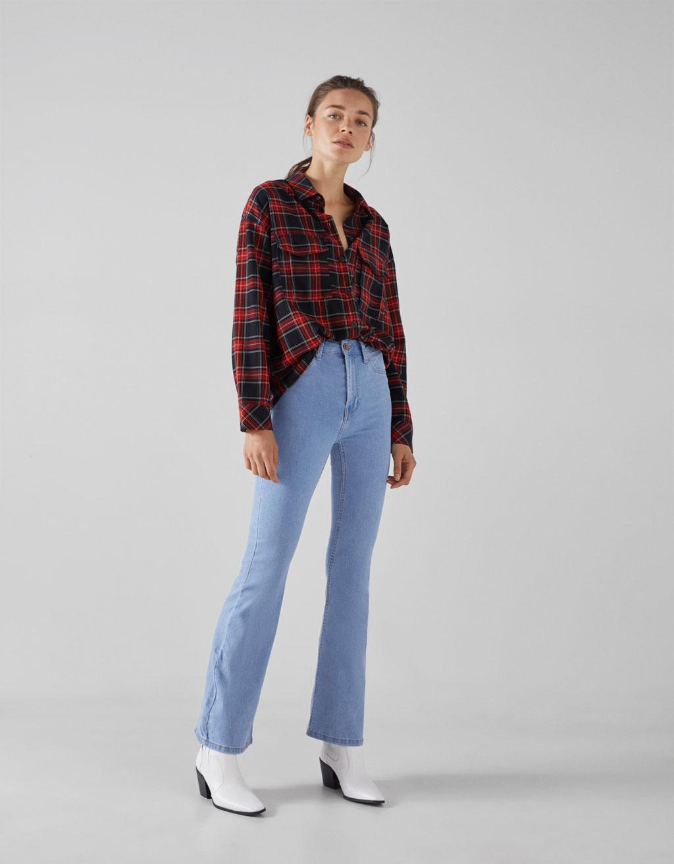 Jeans Med Vide Ben Og Høj Talje by Bershka