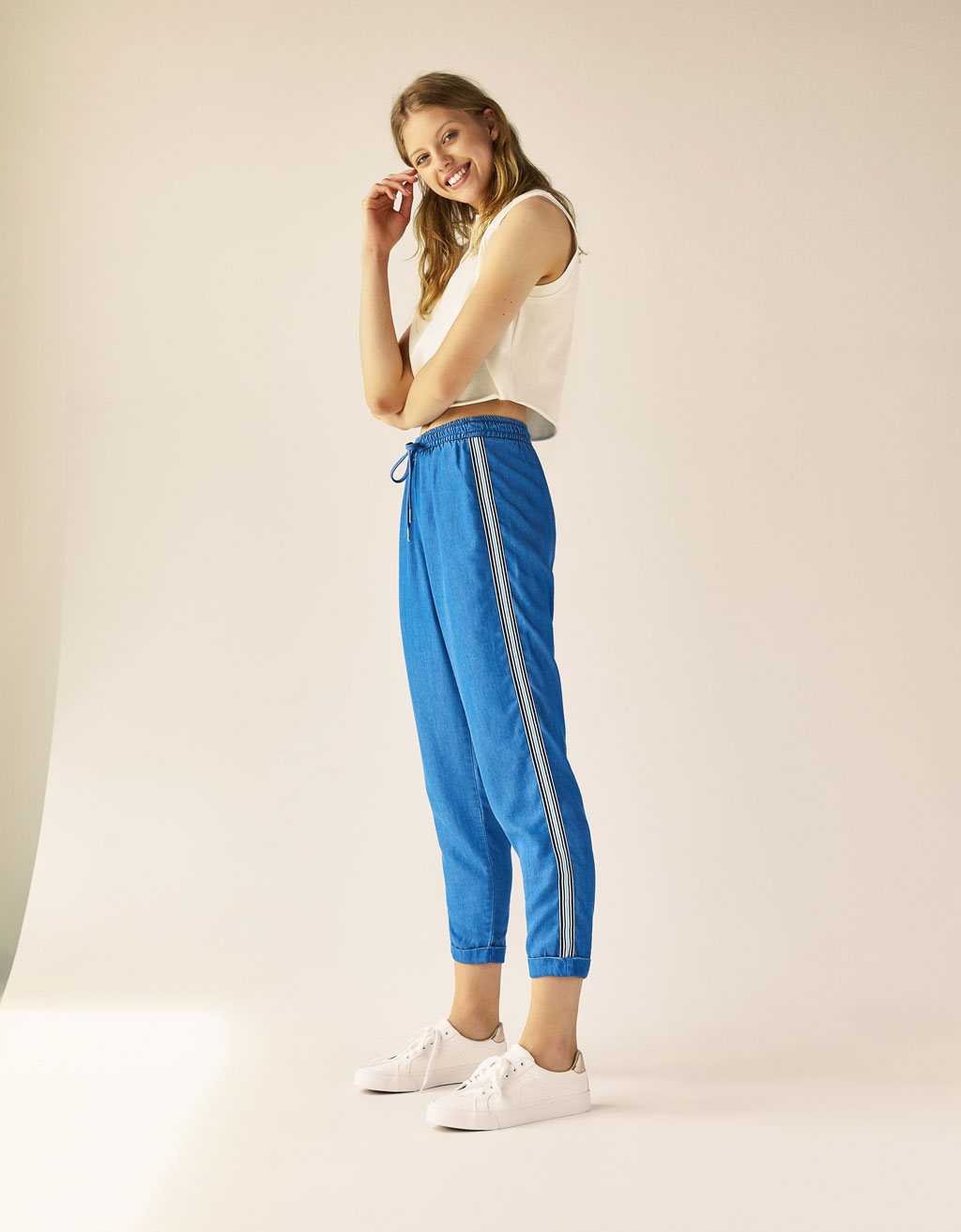 Tencel® trousers with side stripes