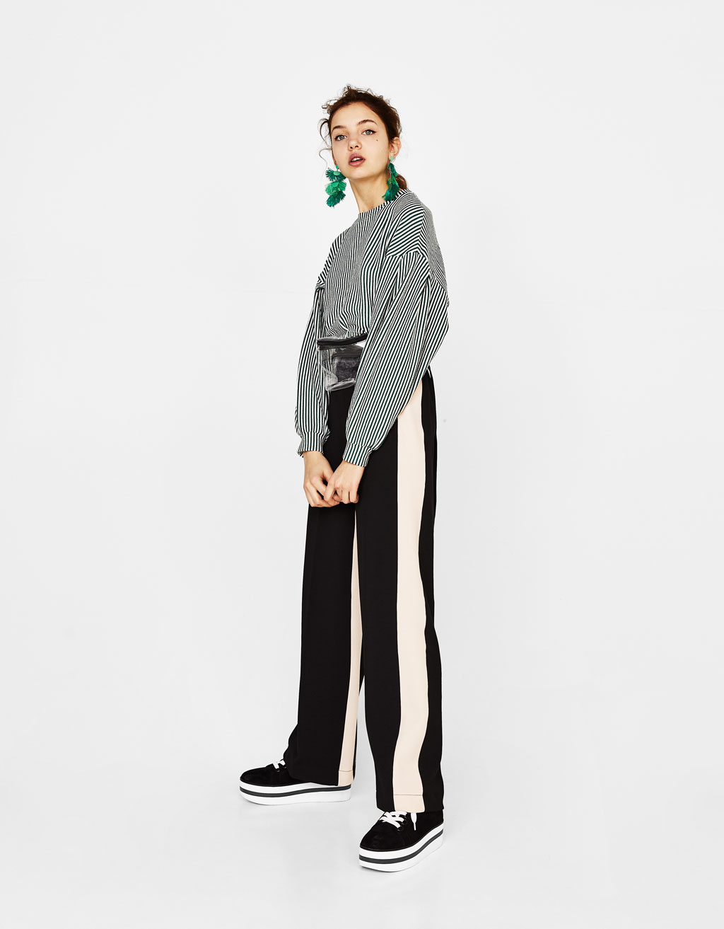 Wide-leg trousers with side stripes