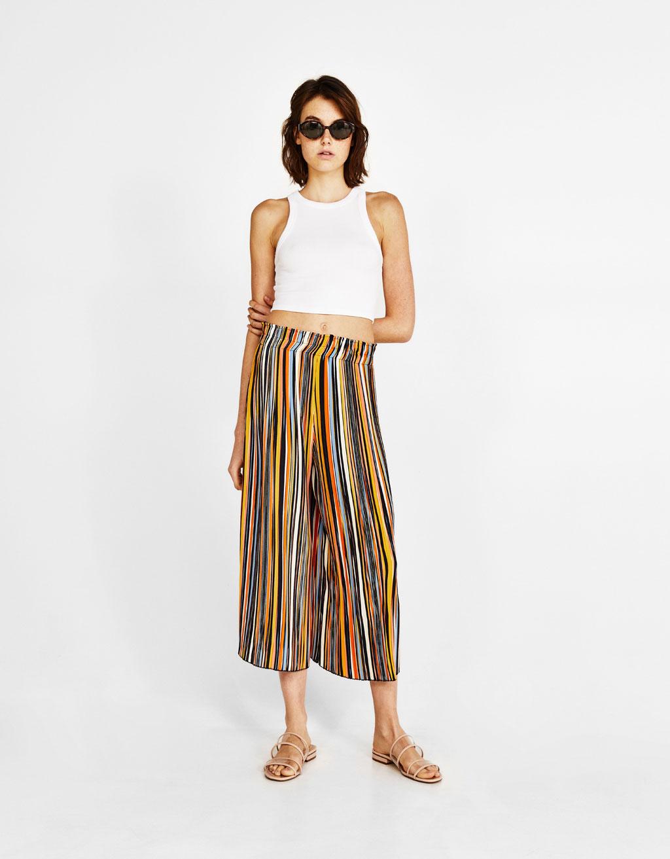 Pliszézett culotte-nadrág