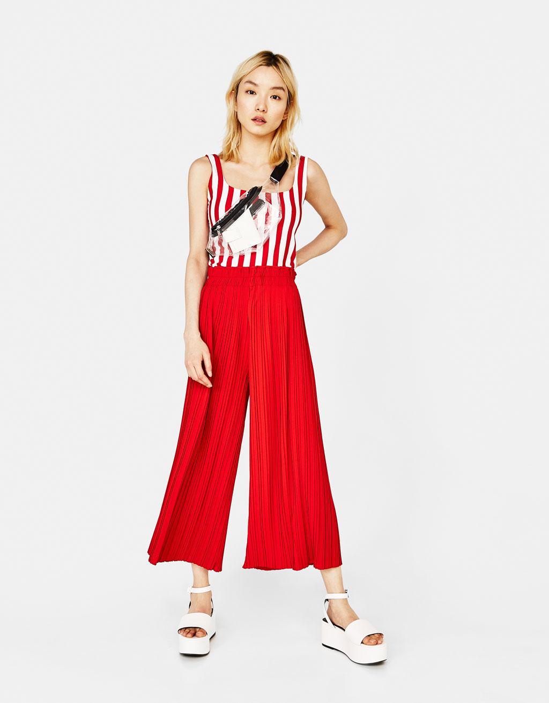 Pantalone culotte plissettato