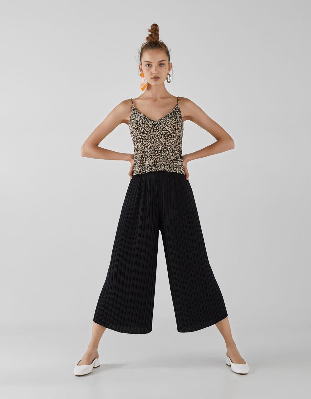 Plisseret culotte-bukser