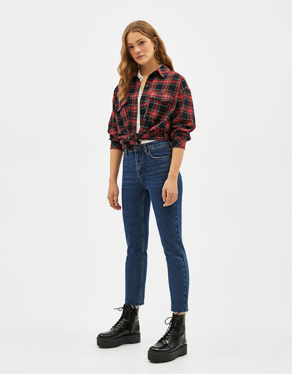 ee4dd50eeb54c1 Jeans Straight Cropped High Rise - Best Sellers - Bershka Sweden