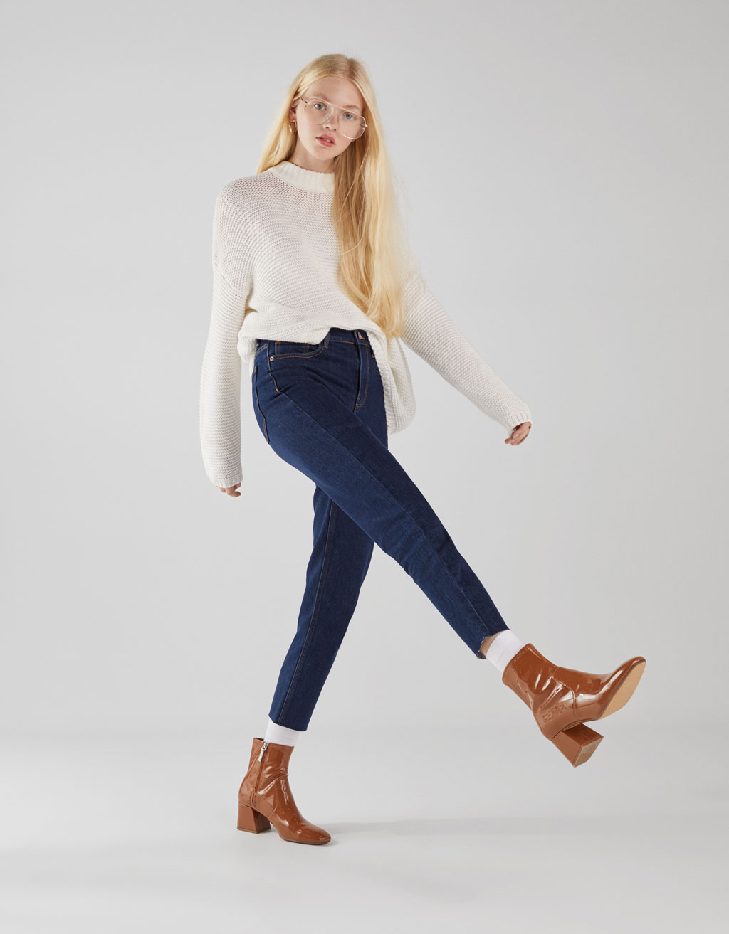Straight Cropped High Rise Jeans