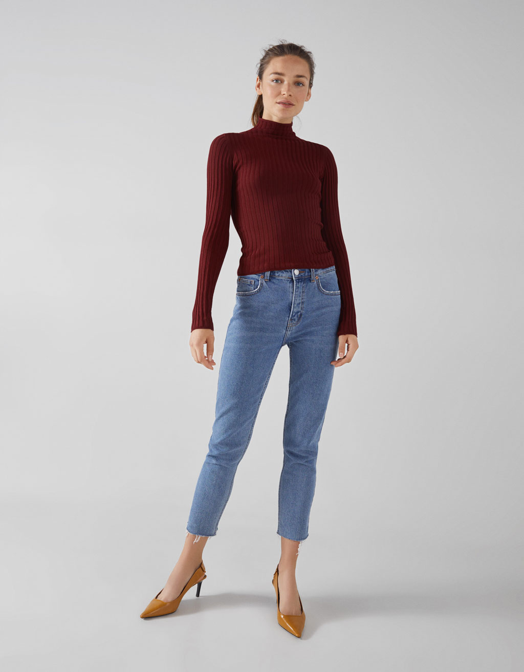Cropped jeans med straight fit