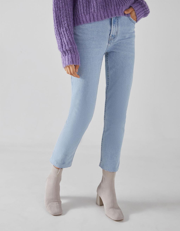 4d8ede7c2 Jeans Straight Fit High Waist cropped - Skinny - Bershka Ecuador