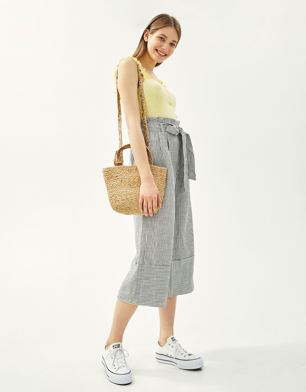 Linen paperbag culottes
