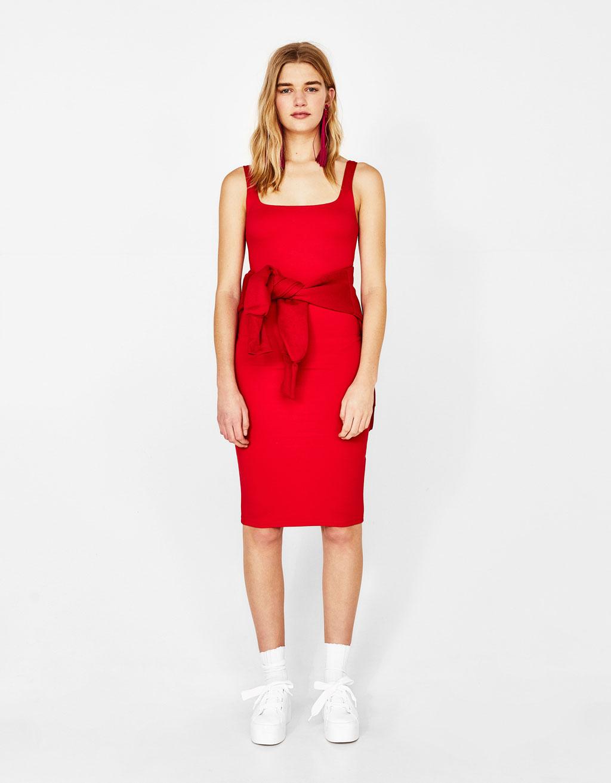 Midi haljina s naramenicama
