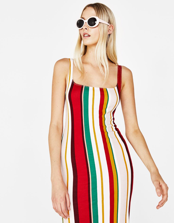 Midi-jurk met schouderbanden