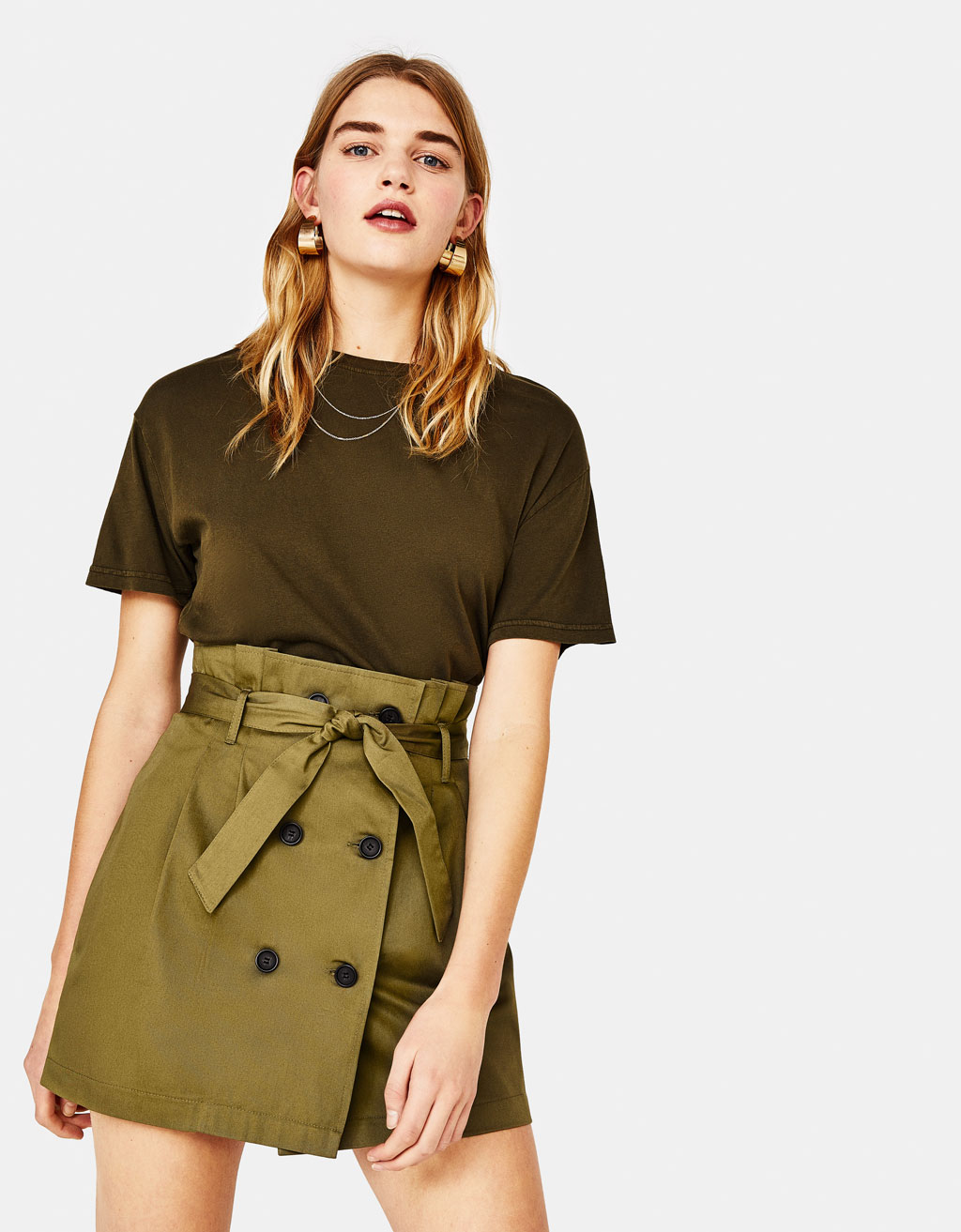 Paperbag mini skirt with belt